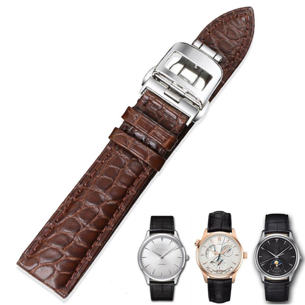 Мужские часы аксессуары из натуральной кожи ремешок круглому текстура крокодиловой кожи Застежка бабочка черный, темно коричневый 1819202122 м