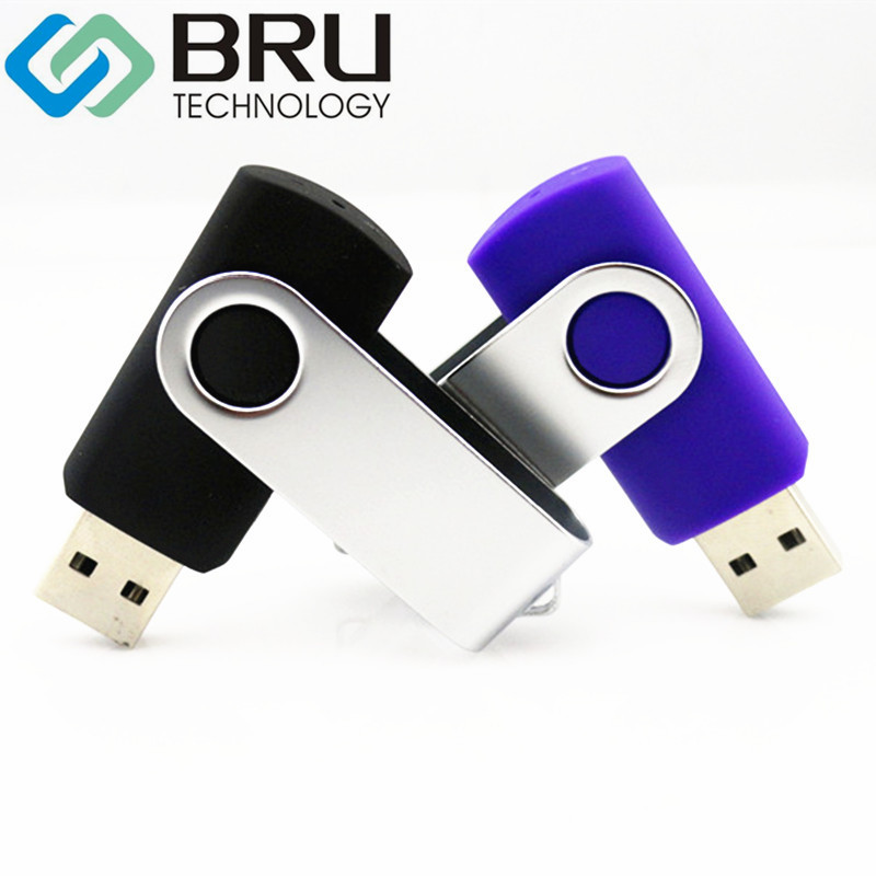 BRU USB Flash Drive 128MB512MB16GB32GB Plastic Swivel PenDrive Small Capacity Memory Stick Custom Laser Engrave Text Print Logo