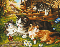 Frameless Animal Cat Family DIY Painting By Numbers Kits Coloring Oil Painting On Canvas Drawing Home