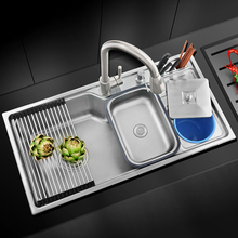 Free shippingMulti functional kitchen wash basin with a knife, a single sink 304 stainless steel stainless steel wire drawing