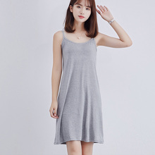 Women Modal Long Slip Dress Black White Sexy Underdress Soli