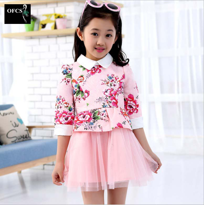 Hot Selling!New Spring Girls Dress Children Long-Sleeved Big Virgin Floral Cake Baby Kids Dance Children's Clothing