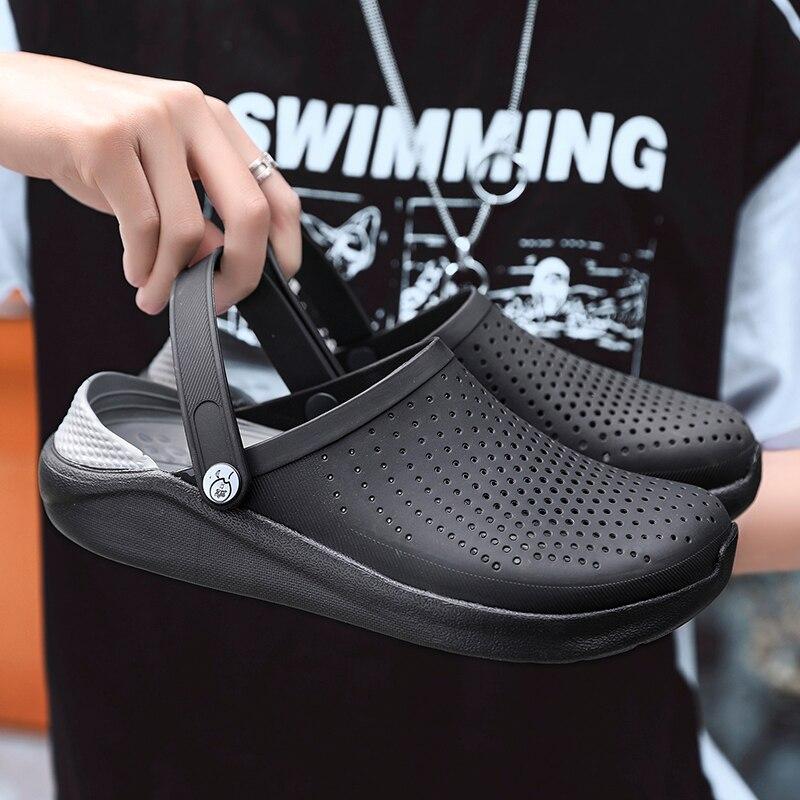 2019 男性サンダル陶製つぼ LiteRide 穴の靴男性のための Crok ゴム下駄 EVA ユニセックス庭の靴黒 Crocse Adulto Cholas hombre