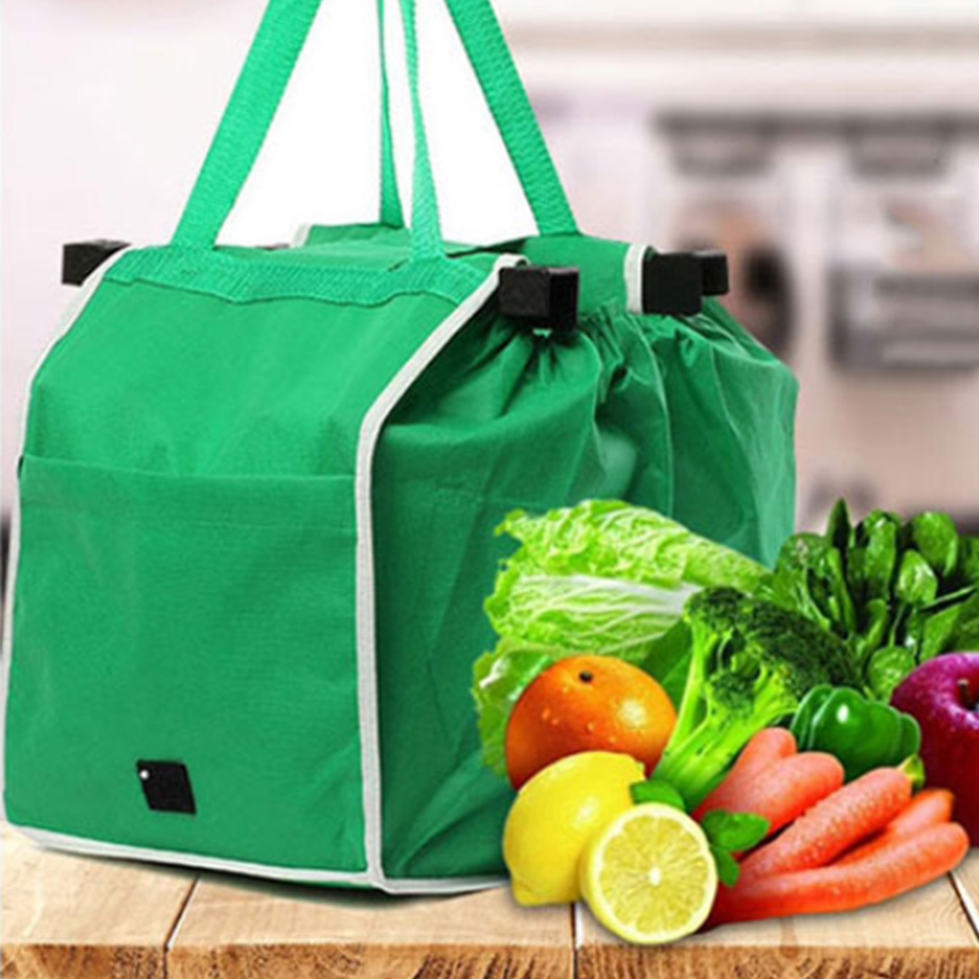 Top Sale UK Bags Foldable Tote Handbag Reusable Trolley Clip To Cart Grocery Shopping Bags