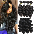 70.4$ For 14 16 18 20inches 4 Bundle Loose Wave Brazilian Virgin Human Hair Loose Wave Queen Berry Brazilian Hair Weave Bundles