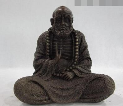 xd 003111 9 China Buddhism Copper Bronze Arhat Sit Damo Bodhidharma Dharma Buddha Statue|statues buddha|statue bronze|statue china - title=