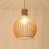Modern Wood E27 LED Chandelier Bulb Pendant Lamps Home Deco Living Room Bird Cage Hanging Lamps Kitchen Light Fixture Luminaria