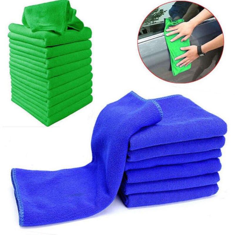 1 5/10 Uds útil de lavado de microfibra toallas paños de limpieza azul limpieza de muebles y coche plumero de paños de 25x25cm Mantel de mesa decorativo GIANTEX mantel de algodón mantel redondo para comedor