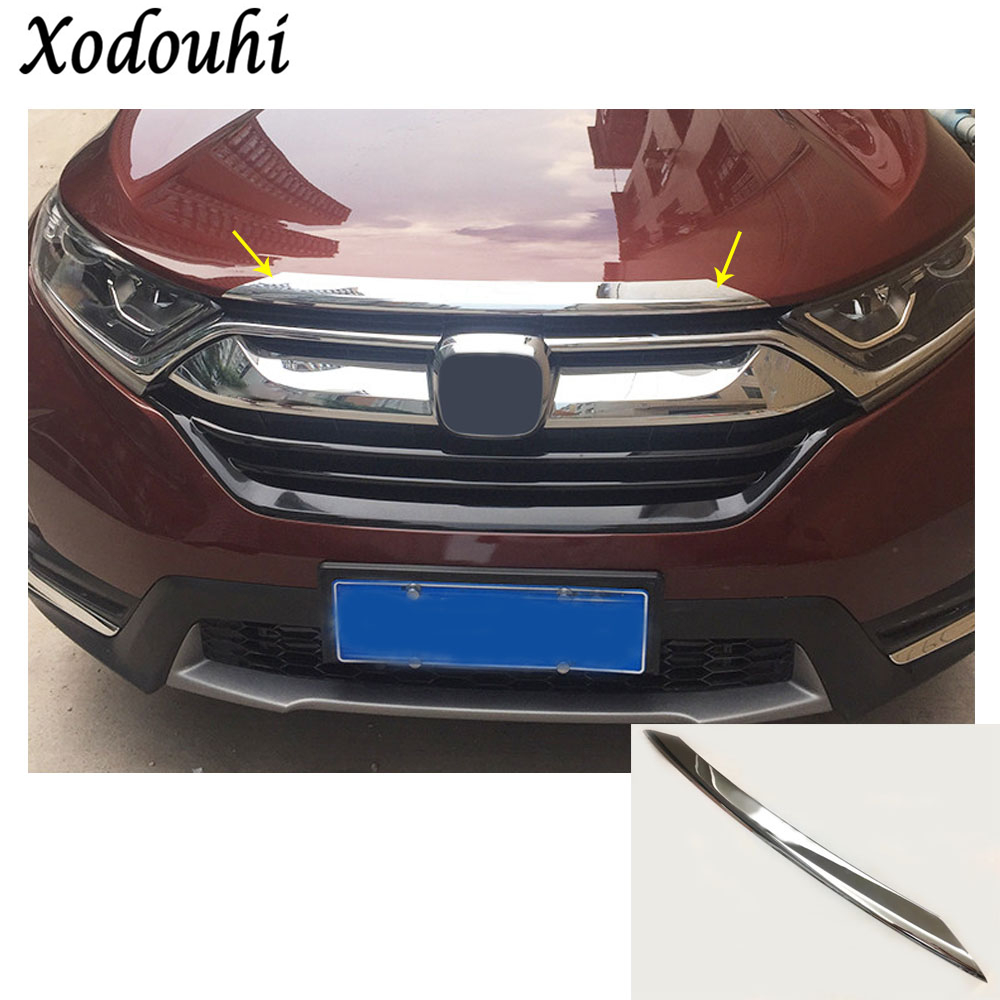 Car garnish ABS Chrome front engine Machine racing grill grille upper hood stick lid trim lamp 1pcs For Honda CRV CR-V 2017 2018 high quality for toyota highlander 2015 2016 car cover bumper engine abs chrome trims front grid grill grille frame edge 1pcs