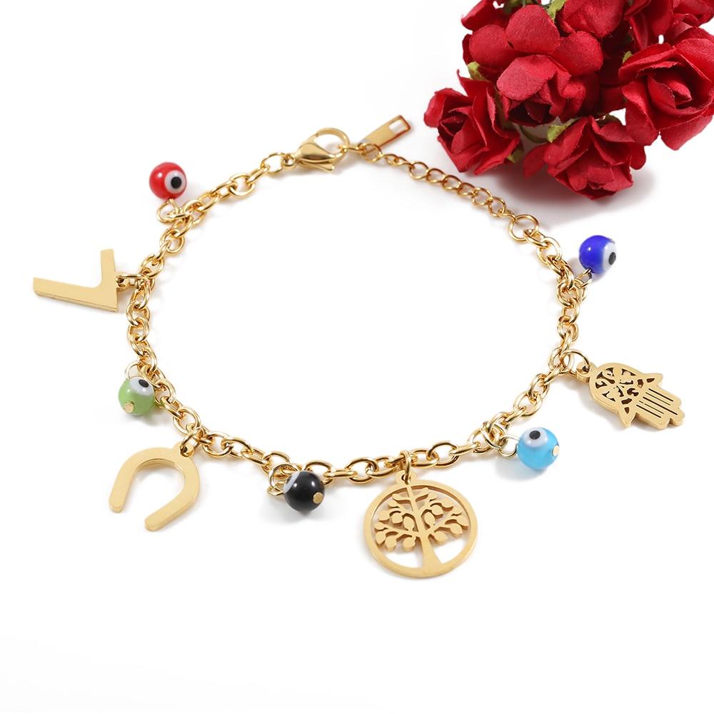 TL pulsera de letras de oro hecha a mano tradicional brazalete de rosa para mujer pulsera brazalete de novia