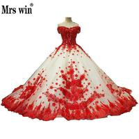 Wedding Dress 2017 The Bride Short Sleeve Sweetheart Luxury Red Lace Embroidery Sweep Train Off The