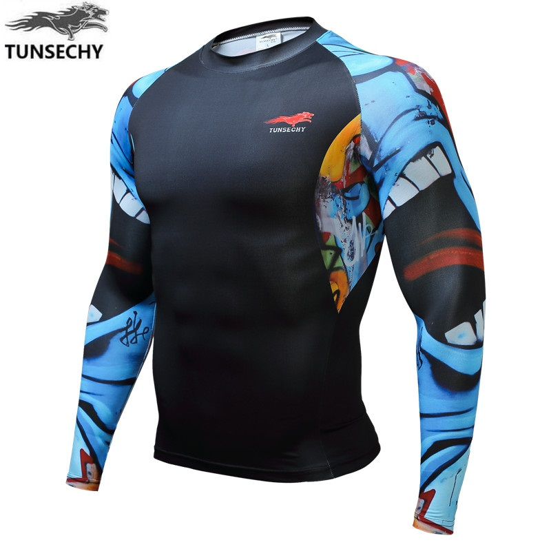 HOT SELL 2017 New Fashion Brand TUNSECHY Men Long Sleeve T-shirt Digital printing tight T-shirt Wholesale and retail