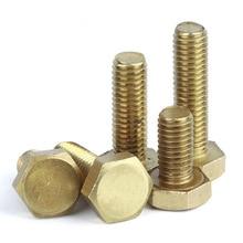 Brass bolt M4 M6 M8 M10 M12 M16 4mm 6mm 8mm 10mm 12mm 16mm 70mm 80mm 100mm long external hex threaded hexagon machine screws