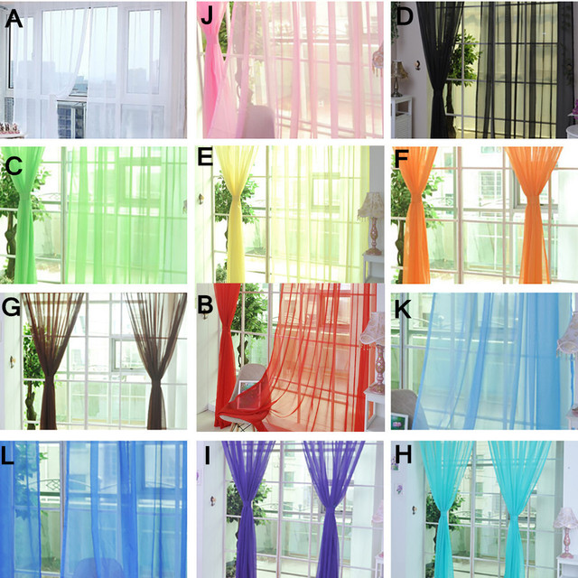 Tenda di finestra di Colore Puro di Tulle Porta Tenda di Finestra Drappo Pannell