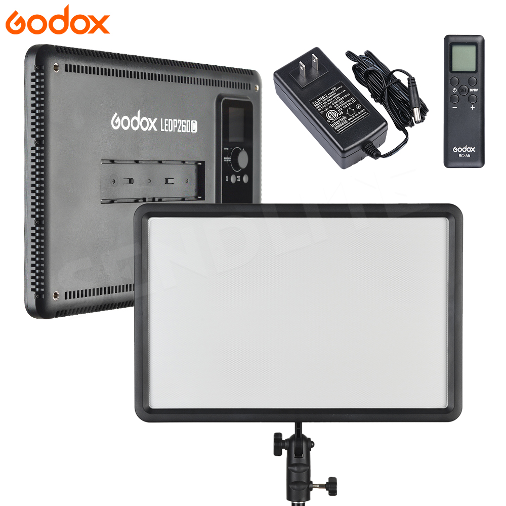 New Godox LEDP-260C 3300~5500K LED Bi-Color & Dimmable Studio Video Light Lamp Panel for Camera DV Camcorder+ AC adapter