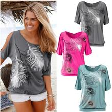Slit Sleeve Cold Shoulder Feather Print Women Top Casual Summer T Shirt Girl 2019 Tee Tshirt Loose Top T-Shirt new *new* cold shoulder flower print tunic t shirt