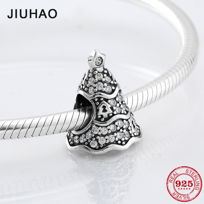 Christmas Tree Charm Beads Clear zirconia 925 Sterling Silver Fit Original Pandora Bracelet Necklace beads for jewelry making strollgirl car keys 100% sterling silver charm beads fit pandora charms silver 925 original bracelet pendant diy jewelry making