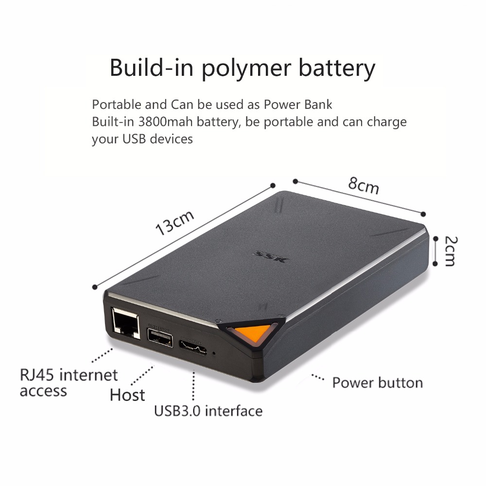 SSK Portable sans fil disque dur externe dur Hisk disque dur intelligent 1 to 2 to Cloud Storage 2.4GHz WiFi accès à distance boîtier HDD - 4