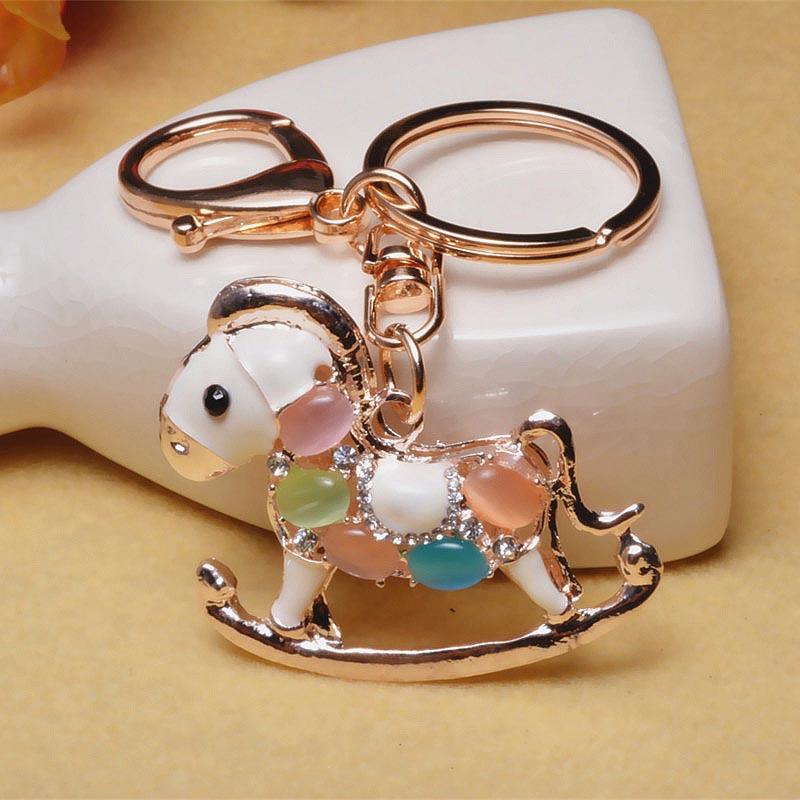 Horse Keychain - Korea Crystal Zodiac Trojans Car KeyRing Buckle Bag Crafts Accessories Key Chain # 1782713
