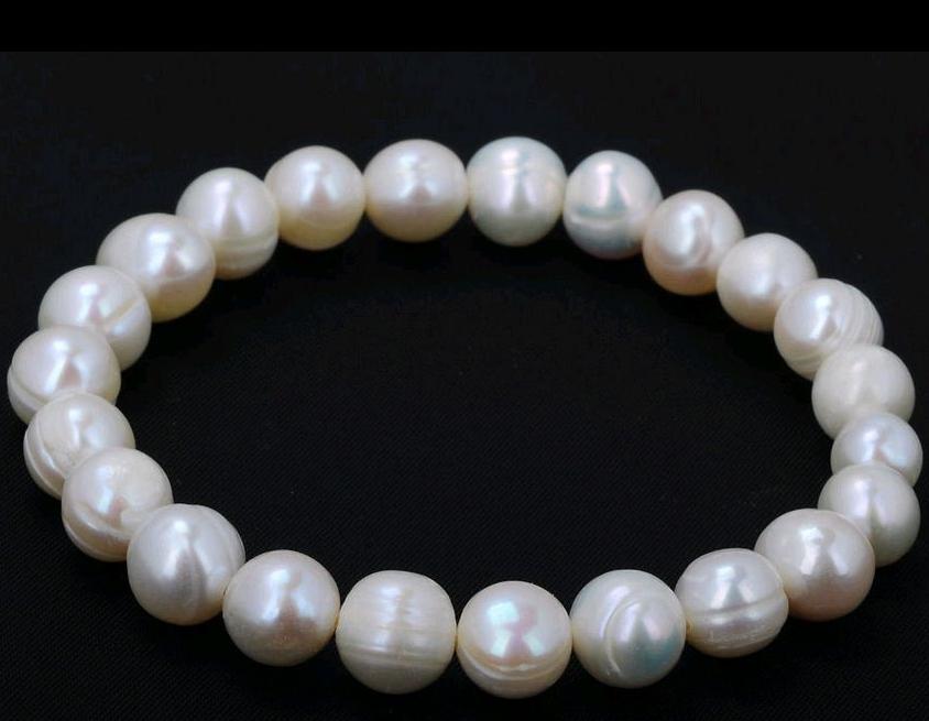 8-9mm Genuine Natural White Akoya Freshwater Pearl Stretchy Bangle Bracelet 7.5″