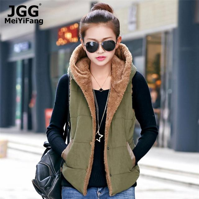 2015 New Casual Hooded Vest Coral Fleece Korean Fashion Autumn Women Coat Plus Size Female Waistcoat