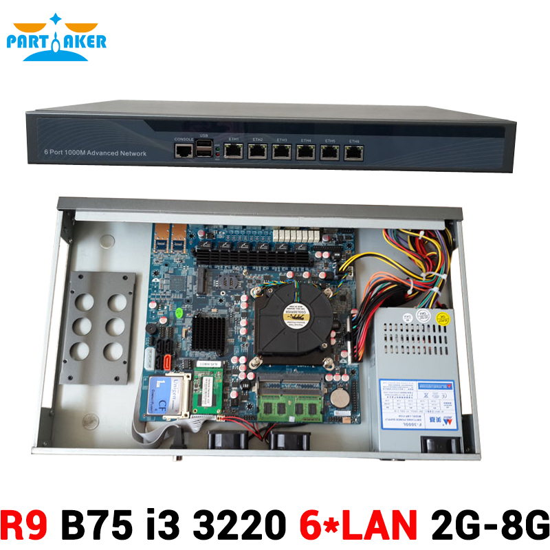 6 Intel PCI-E 1000M 82583V Gigabit LAN B75 Firewall Appliance with i3 3220 Processor 2G RAM 8G SSD