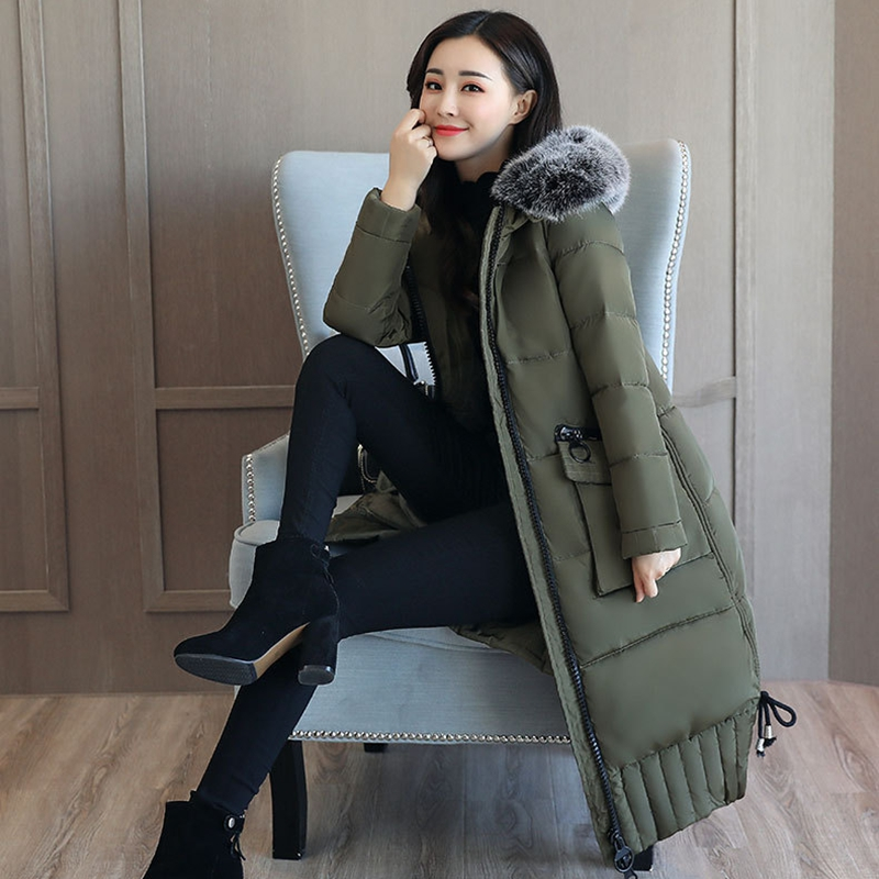 2017 NEW HOT SALE FASHION WOMEN WINTER JACKER X-LONG LARGE FUR COLLOR THICKEN WARM FEMALE PARKAS COTTON WADDED COAT J086
