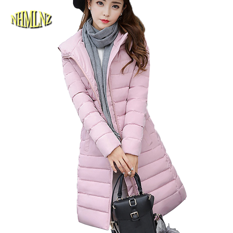 Winter clothes Cotton clothing Women's clothing fashion Slim In the long section Cotton coat Large size Hooded coat WK009 sky blue cloud removable hat in the long section of cotton clothing 2017 winter new woman