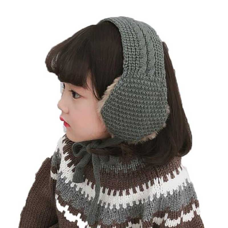 Fashion Winter Warm Earmuffs Kids Girl Boy Knitted Earflap 2018 Plus Velvet Soft Ear Shield With Scarf Child Accessories W8588