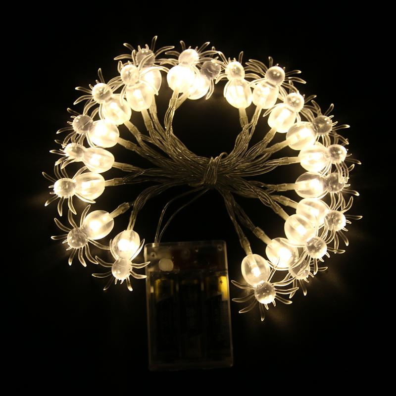 20pcs Spider Shaped Halloween LED String Lights Warm White Flicker and Lighting Light Wedding Party Garden Decoration