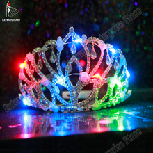 LED Crown 1 Pcs Coloful Hair Accessories Women Headband Wedding Royal Tiara Flashing Light up For Stage Performance Party Gift