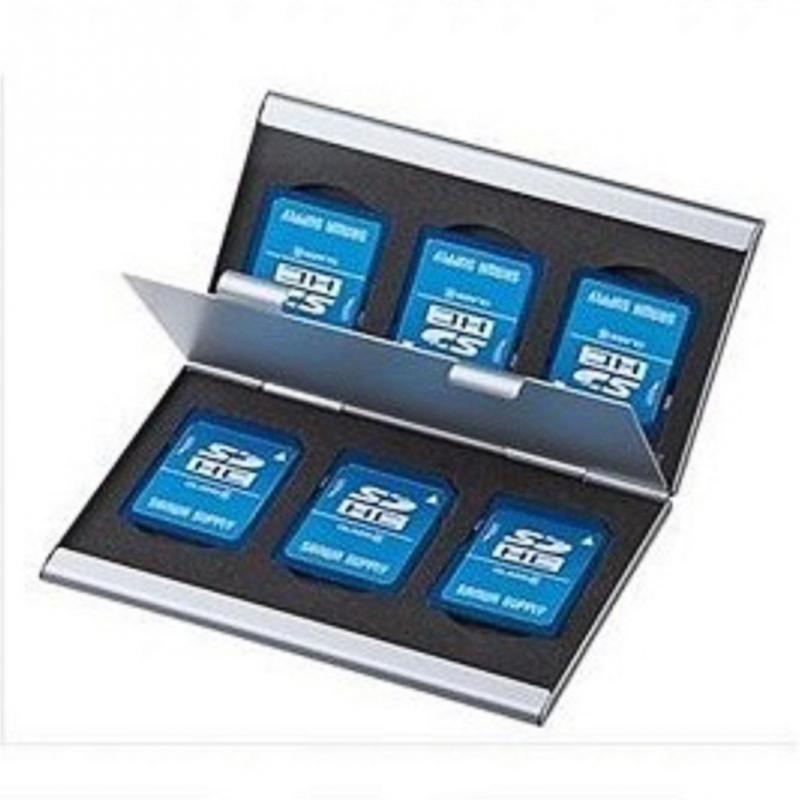 Double-Layers Aluminium Alloy Storage Box Protecter Case 6 SD Card For SD MMC TF Memory Card Storage EVA Aluminum Micro Case