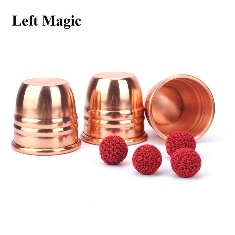 Super professionnel laiton trois tasses et boules cuivre tours de magie magicien gros plan Illusion Gimmick accessoires