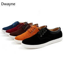 Dwayne Fashion Spring/Autumn Suede Men's Shoes Leather Casual Breathable Shoes Flats Size 38-49 Men's vulcanize shoes