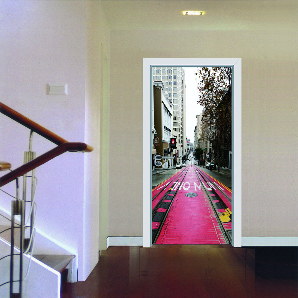 New Fashions Urban Railway Creative Door Sticker for Bedroom Living Room Pvc Waterproof Wall Stickers Door Refurbished Sticker