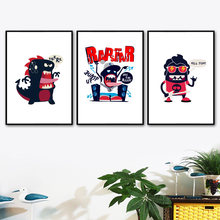 Estilo nórdico Cartazes Dinossauro Monstro Dos Desenhos Animados Da Lona Cópias Da Arte Da Parede Pintura Pop Moderno Pictures Para Living Room Home Decor(China)