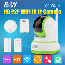 Mini P2P Wifi Digital camera Wi-fi IP 720P Surveillance HD CCTV with Infrared Movement/Door Sensor + Smoke/Fuel Detector Distant Management