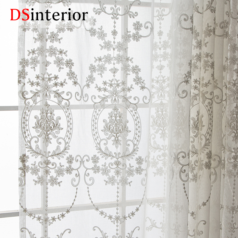Dsinterior White Embroidered Curtains Sheer Curtains For Living Room Window In Curtains From