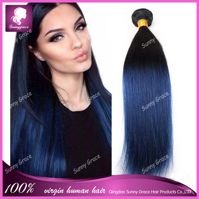 2 Tone Ombre Blue Human Hair Weave Colored Brazilian Straight Hair