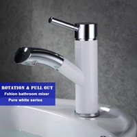 White Paint New Design Bathroom Basin Deck Mounted Water Mixer High Quality Pull Out And Rotation
