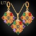 U7 Позолоченные Цирконы Ожерелье Серьги Ювелирные Комплекты Для Женщин Индийские Украшения Квадратные Сережки С Камнями S678
