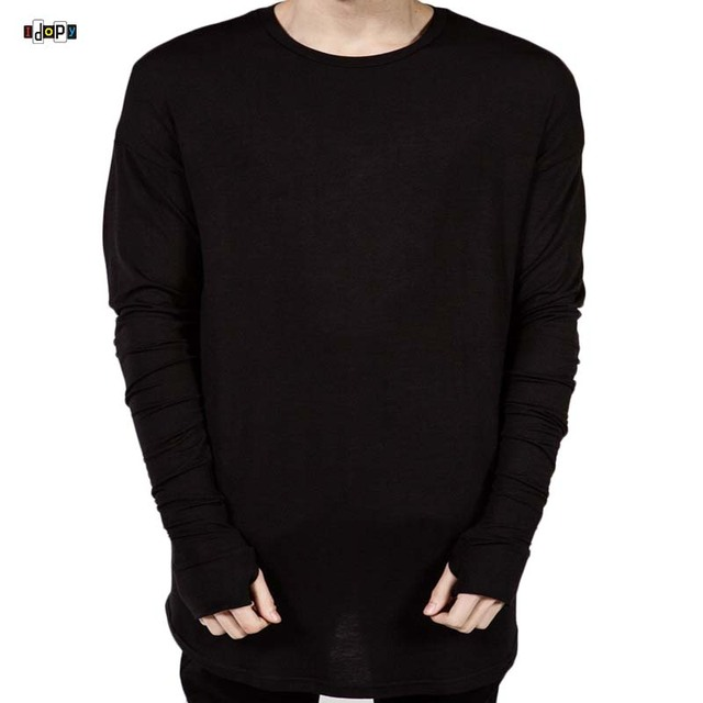 Swag Clothing For Men Hipster Extended Tee Long Sleeve Hip Hop