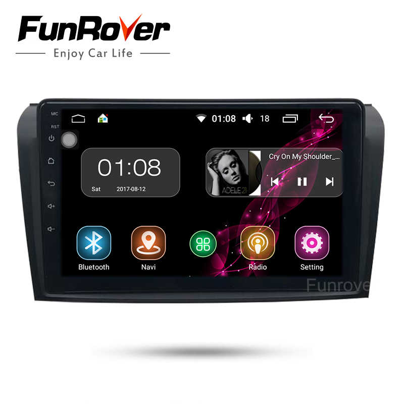 "Funrover 9"" Android 8.0 car radio dvd multimedia For Mazda3 Mazda 3 2004-2009 head unit GPS stereo Navigation Wifi navi audio FM"