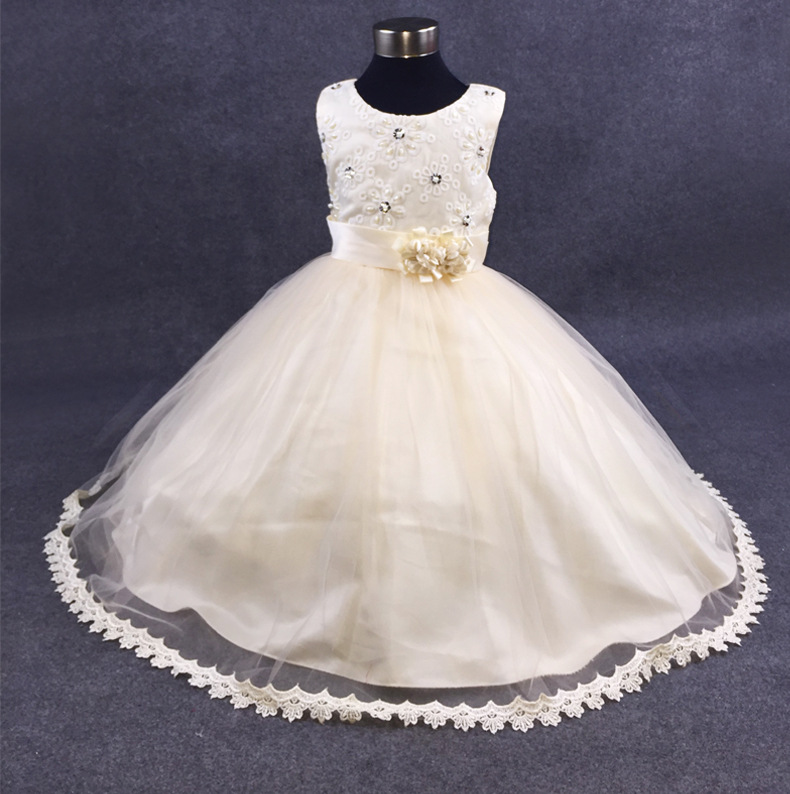 Summer Girls Beaded Lace Princess Dress for Birthday wedding Party Dresses Children Baby Frocks Prom costumes For 4 6 8 10 12 Y 2017 girls princess dresses kids bridesmaids clothes long dress children red prom dress for party and wedding 4 5 6 7 8 9 10 yrs