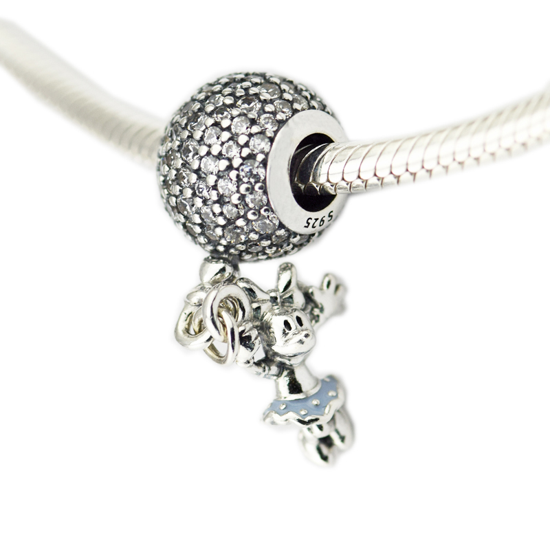 Pandulaso Mother's Day Floating Mouse Hanging Beads Fits Charms 925 Silver Original Bracelets For Woman DIY Fine Jewelry Making