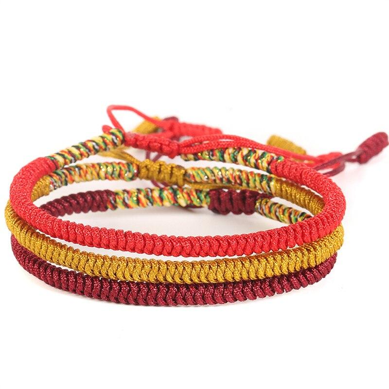 3PCS\SET Handmade Multi Color Tibetan Buddhist Good Lucky Knots Rope Charm Bracelets & Bangles For Women Men Bracelet