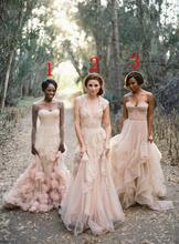 A Line Blush Deep V Cap Sleeves Sweetheart Pink Lace Applique Tulle Sheer Gown 2017 Cheap Vintage Bridesmaid Dresses