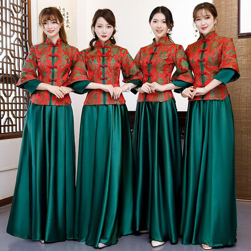Femmes demoiselle d'honneur mariage Cheongsam robe de soirée Style chinois élégant soirée Qipao longues robes tunique robe rétro Vestido S-XXL