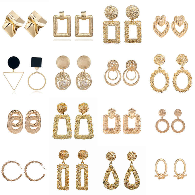 Big Vintage Earrings for Women Gold Silver Geometric Statement Earring 2019 Metal Earing Hanging Fashion Jewelry gift wholesale