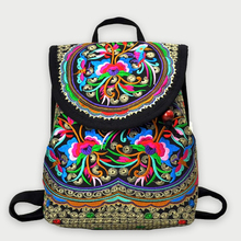 Fashion Vintage Boho Embroidered Canvas Backpack Ethnic Cover Casual Travel Backpack Online Sales Back Bag Backpack Teenage Girl